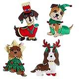 RAZ Imports 2020 Dogs of Christmas 7.5-Inch Christmas Dog Felt Ornament, Assortment of 4
