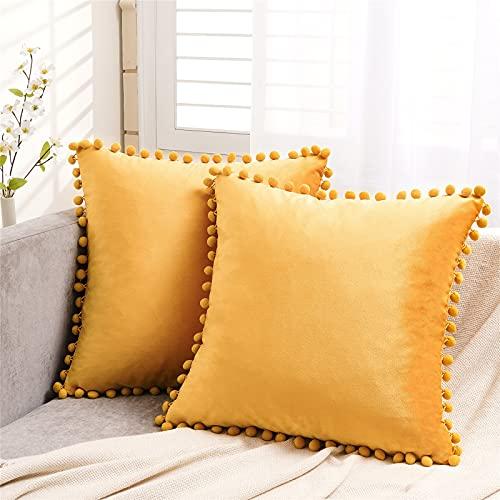 Cojines amarillos decorativos de terciopelo - 2 piezas