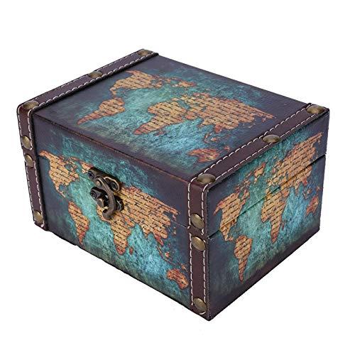 Caja de almacenamiento, estilo europeo Caja de almacenamiento de madera vintage Pendientes Collar Anillos Organizador de joyas Caja de presentación Sala de estar en casa Adornos de escritorio(Mapa)