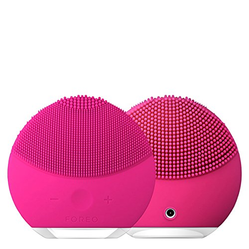 FOREO LUNA mini2 - Facial Cleansing Brush and Portable Skin Care device made with Ultra Hygienic Soft Silicone for Every Skin Type USB Rechargeable Fuchsia