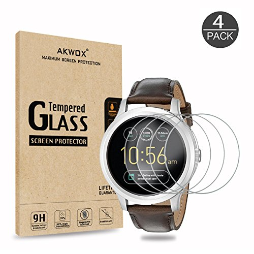 (4-Pack) Tempered Glass Screen Protector for Fossil Q Founder, Akwox [0.3mm 2.5D High Definition 9H] Anti Scratch Screen Protector for Fossil Q Founder