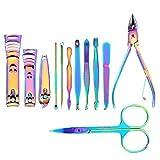 SGSG Juego de cortaúñas 12 Piezas Kit de cortaúñas de Acero Inoxidable Rainbow Kit de Cortador de cutícula de uñas Pinzas Removedor de Piel Muerta Juego de manicura Herramientas para uñas