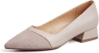 Thick with Single Shoes Female Leather Pointed Low and Low Heel Women's Shoes Korean Ladies Small Shoes Professional OL High Heels Spring New (Color : Gray, Size : 34)