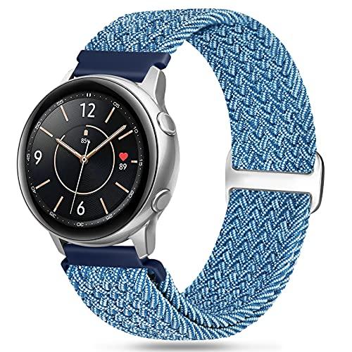 Vodtian Correa de nailon de 20 mm Solo Loop compatible con Samsung Galaxy Watch 3 41 mm/Galaxy Watch 42 mm/Active2 44 mm 40 mm/Gear Sport, cambio rápido deportivo, correa elástica de repuesto trenzada