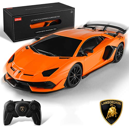 BEZGAR X RASTAR Licensed RC Series, 1:24 Scale Diecast Remote Control Car Lamborghini Aventador SVJ Electric Sport Racing Hobby Toy Car Model Vehicle for Boys and Girls Teens and Adults Gift (Orange)