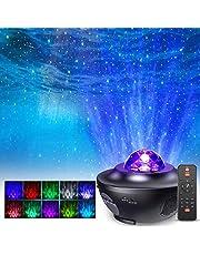 Projektor LED gwiaździste niebo od FOCHEA, projektor nocny z efektem gwiazdy/fal wodnych, 21 trybami oświetlenia i głośnikiem muzycznym, idealny na imprezę dla dzieci