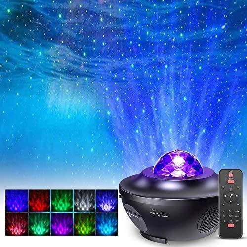 Proyector de Luz Estrellas Galaxia, Proyector Estrellas Giratorio de Infantil con 21 Modos & Control Remoto & Temporizador & Altavoz & Bluetooth, Luz bebé nocturna, Luces Decorativas Habitacion Fiesta