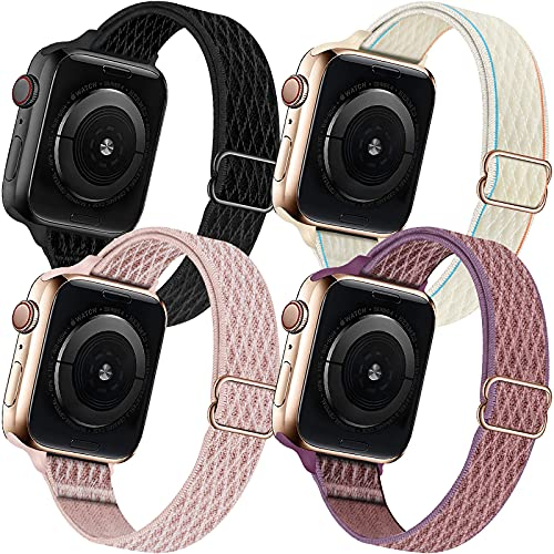 ENJINER 4 Pack Slim Bands Compatible with Apple Watch 38mm 40mm 42mm 44mm Band iWatch Series 6 5 SE 4 3 2 1 Strap, Women Nylon Stretchy Braided Elastic Sport Solo Loop Thin Narrow Wristband, 38 40mm A