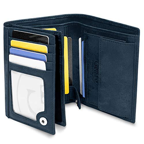 Oslo Große Geldbörse mit Münzfach - TÜV geprüfter RFID, NFC Schutz - geräumiges Portemonnaie - Geldbeutel für Herren und Damen - Portmonaise inkl. Geschenkbox (Marineblau - Soft)