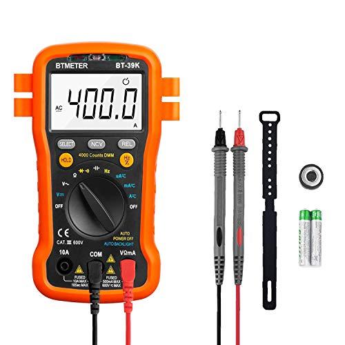 デジタルマルチメーター BTMETER BT-39K 4000カウント オートレンジ NCV、連続性、ダイオードテスト、AC DCボルトテスタ電? 電流計測、抵抗、キャパシタンス、周波数、バックライト付きユニバーサルメータ