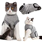 EMUST Cat Recovery Suit, Professional Recovery Suit for Cats for Abdominal Wounds and Skin Diseases,Breathable E-Collar Alternative for Cats Pet Kitten, Cat Onesie After Surgery Wear Anti-Licking,M