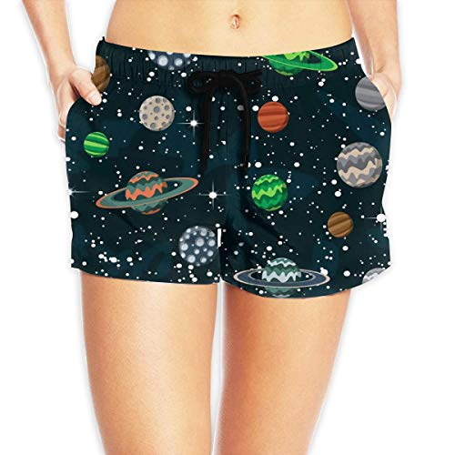 ZKHTO Women's Beach Board Shorts Comic Space with Planets and Stars Swim Trunks Briefs Swimsuit,Size:L