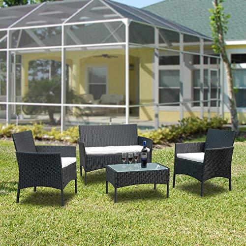 VINGO Balkon Möbel Set Poly Rattan Gartenmöbel inkl. 2er Sofa, Singlestühle, Tisch und Sitzkissen Hochwertige Sitzgruppe Schwarz für Garten Terrasse - 6