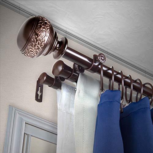 """A&F Rod Décor - Nadeen 13/16"""" Triple Curtain Rod 120-170 inch - Cocoa"""