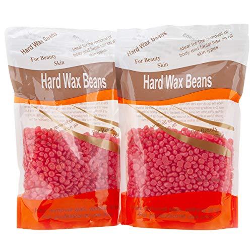 Bonjanvye Hard Wax Beans 300g 2Packs H Wax Kits Kit-Rose and Strawberry