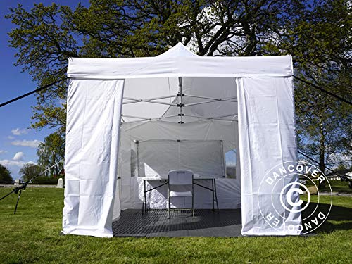 Dancover Visitor tent FleXtents Pop up canopy Folding tent Steel 3x6 m White, incl. 4 sidewalls and 1 transparent partition wall