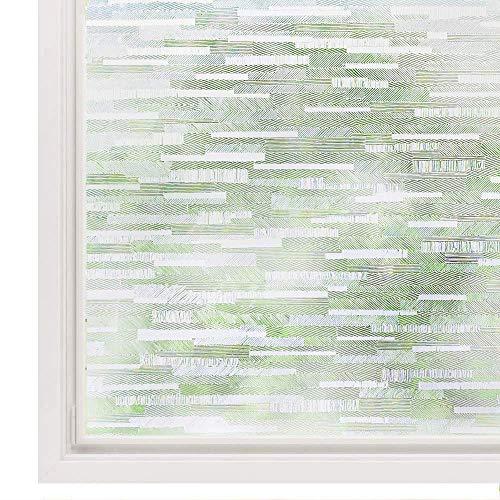 rabbitgoo Vinilo Cristal Ventanas Translucido Adhesiva Película Laminas Privacidad Pegatina Vinilo Ventana Anti 96% UV Calor Fácilmente Decorativos Reutilizar Esmerilados para Baño Cocina 44.5x300CM