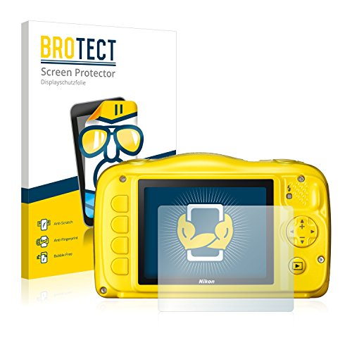BROTECT Protector Pantalla Compatible con Nikon Coolpix S33 Protector Transparente (2 Unidades) Anti-Huellas