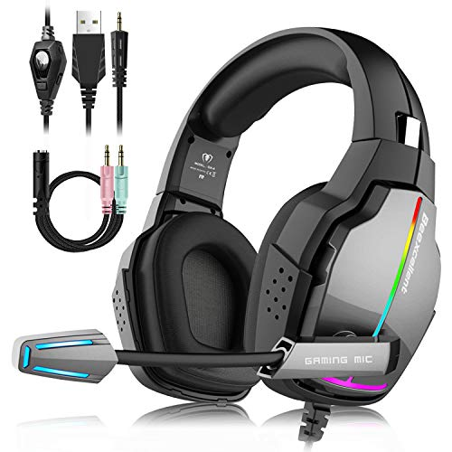 Unisun PS4 Headset Gaming Headphone for PC Xbox One with Adjustable Mic...