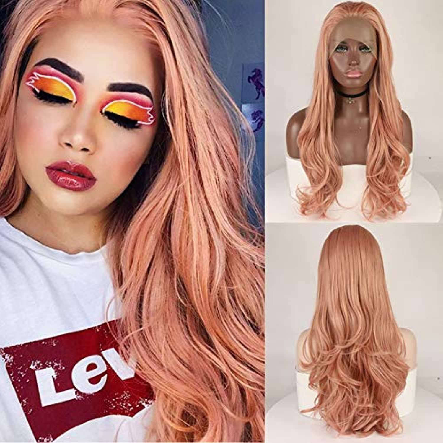 Fantasy Synthetic Lace Front Wigs pink gold Beauty Long Wavy Peach Pink High Temperature Fiber Lace Front Wigs For Women