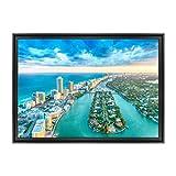 Cadre sur toile de coton encadré - avec cadre - Miami Beach - USA Amérique Floride - 70 x 100 cm - Style contemporain noir - (cod.1673)