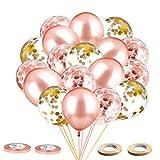 LKMING Juego de Globos de Oro Rosa, 60 Globos de Látex Confeti de 12 Pulgadas, Utilizados para Fiesta de Cumpleaños, Novia, Boda, Baby Shower, Ceremonia De Graduación (Rosa)