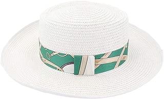 SHENTIANWEI Summer Straw Sun Hat Covered Flat Top Hat for Women Straw Beach Hat Towel Jazz Sunhat