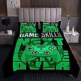 Gaming Steppdecke Jungen Gamer Grün Gamepad Tagesdecke 220x240cm für Jugendliche Cooles Videospiel Bettüberwurf Neuheit Modernes Spiel Joys Tick Wohndecke 3St
