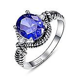 Bonlavie - Anello da donna in argento Sterling 925 con tanzanite taglio ovale, blu, da 3,5carati, ideale come anello di fidanzamento e Argento, 56 (17.8), cod. 053R28