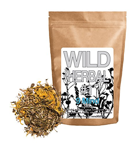 Wild Herbal #1 9 Mind Tea Blend by Wild Foods - 9 Ingredient Tea with Peppermint, Ginkgo, Lemon grass, and more, 100% Natural (4 ounce)