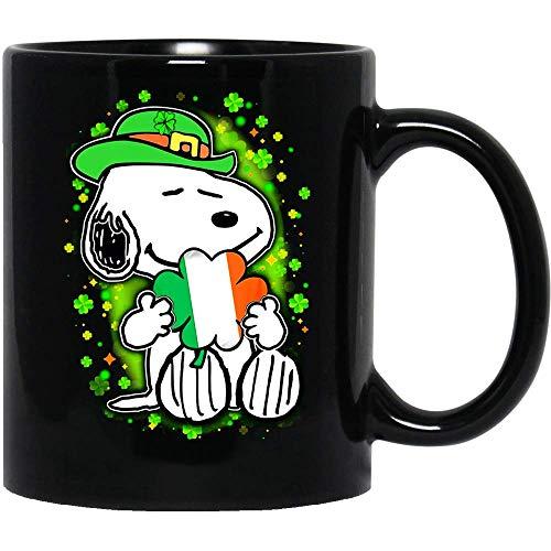 N\A #Snoopy Lindo día de San Patricio La Leyenda del trébol de Cuatro Hojas Taza de café Divertida para Mujeres y Hombres Tazas de té