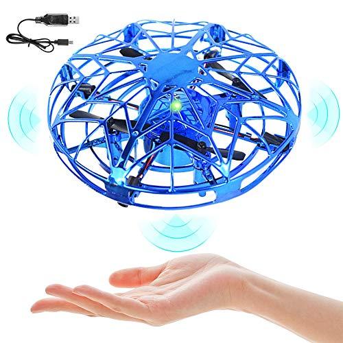 Mini UFO Drohne, Drohne Kinder Spielzeug, Handsensor Quadcopter Infrarot-Induktion Fliegendes Spielzeug, Indoor Outdoor Flugzeuge für Kinder Anfänger Weihnachts Geschenke (Blau)