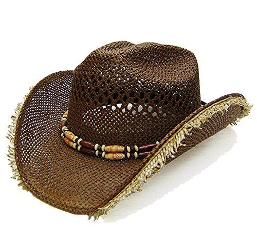 Modestone Unisex Straw Chapeaux Cowboy Fuzzy Straw Fringe Brown