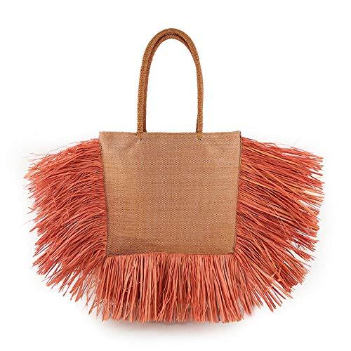 Bolso de paja de vacaciones en la playa con borlas bolso de verano para mujer bolso de diseñador de lujo para mujer 38x7x30.5cm