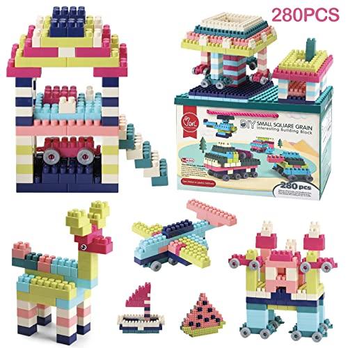 LAPPAZO 280PCS Costruzioni per Bambini DIY Gioco Educativo e Creativoper Bimbi con Contenitore e Base Regalo Giocattoli per Bambini 1-8 Anni