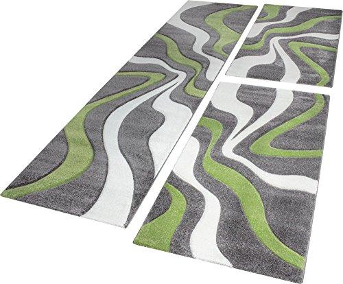 Descente De Lit Tapis Design Aux Contours Découpés Motif Vagues Vert Gris Crème, Dimension:2x 80x150 / 1x 80x300 cm