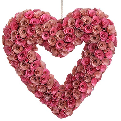 Large Pink Rose Valentine's Day Heart Wreath 19 Inches