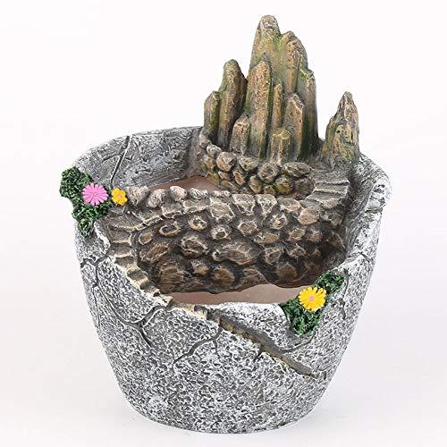 WBFN Pots de Plantes,Nouveau Pot Petit rocailles charnue créatif Petite Fleur Ciel résine Jardin Pot Double Fleur,for Les Plantes d'intérieur Bureau extérieur Balcon Décor Cadeau Jardin
