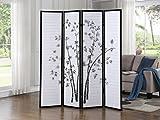 Roundhill Bamboo Print 4-Panel Framed Room Screen/Divider, black