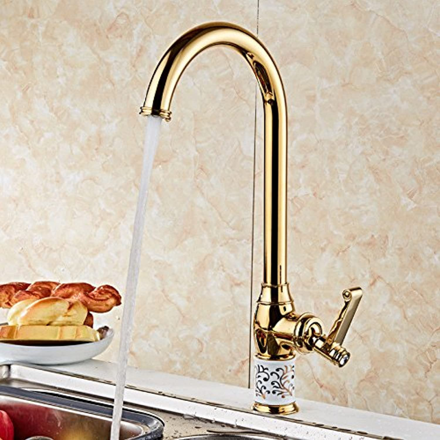 Gyps Faucet Basin Mixer Tap Waterfall Faucet Bathroom The copper pink gold mixer kitchen faucet kitchen sink faucet hot and cold-water faucet single hole faucet Single Handle faucet sink mixer A