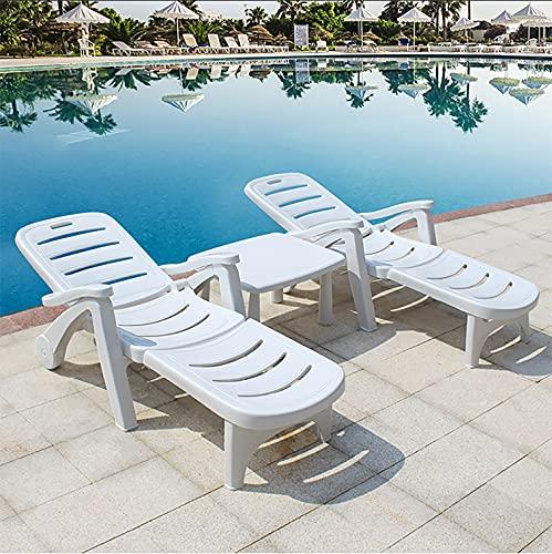 Silla de playa, sillón de plástico portátil, tumbonas plegables, sillas de patio reclinables para natación en el patio de la villa del hotel-white||Package 3