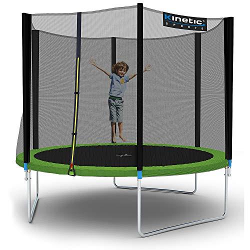 Kinetic Sports Outdoor Gartentrampolin Komplettset inklusive Sprungtuch aus USA-Mesh +Sicherheitsnetz +Randabdeckung, bis zu 160kg, UV-beständig, Ø 183 250 305 370 400 430 460cm (Ø 310 cm, Grün)