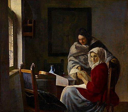 Garota Interrompida em Sua Música 1661 Pintura de Johannes Vermeer na Tela em Vários Tamanhos (65 cm X 55 cm tamanho da imagem)