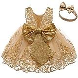 CMMCHAAH Little Baby Girls Christmas Dresses Kids Toddler Formal Easter Ball Gown Birthday Pageant Dress (Golden02,100)