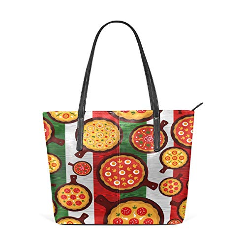 jhin Womens Purse Pizza On Stripes PU Leather Shoulder Tote Bag Umhängetasche Backpack Ladies Travel Shopping Bags