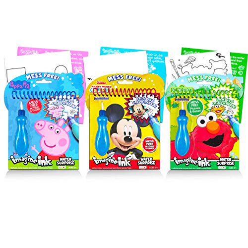 Disney Shop Paint with Water Books for Toddlers Kids Bundle ~ 3 Mess-Free Imagine Ink Water Painting Books with Water Surprise Brushes, Featuring Mickey Mouse, Peppa Pig, and Sesame Street Elmo