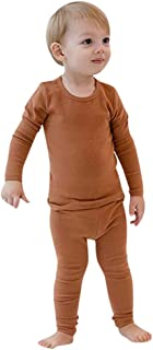 Qootent 2019 Kids Baby Cotton Outfits Set Long Sleeve Solid Sleepwear Pant Pjs