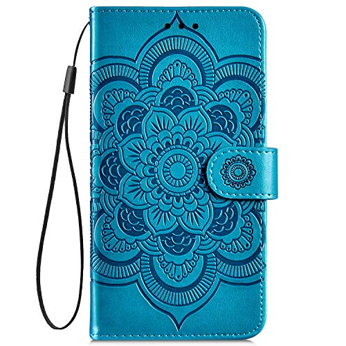 Hpory Kompatibel mit Galaxy J4 Plus Hülle, Samsung Galaxy J4 Plus Handyhülle Retro Muster PU Leder mit Handschlaufe Kartenfächer Geldbörse Wallet Case Flip Cover Schutzhülle Tasche - Mandala Blau