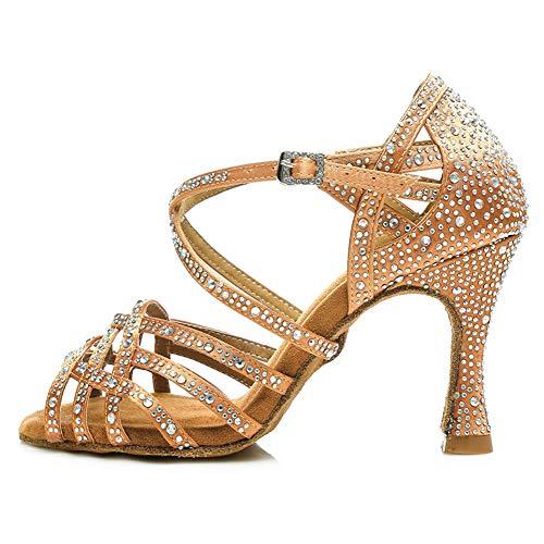 AOQUNFS Zapatos de Baile de Salón para Mujer/Niña Latino Salsa Bachata Zapatos de Baile Tacón Alto,L357-Marrón-7.5,EU40
