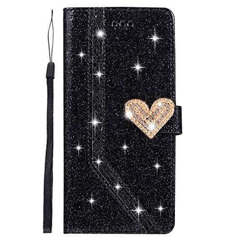 Homikon PU Leder Hülle Schön Bling Glänzend Glitzer Diamant Liebe Schutzhülle Brieftasche Lederhülle Bookstyle Handyhülle Magnetverschluss Tasche Kompatibel mit Samsung Galaxy A7 2018 - Schwarz
